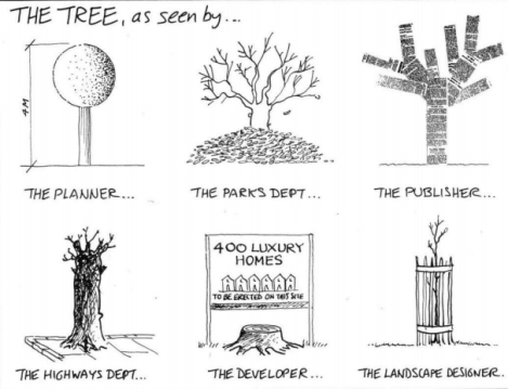 Different perspectives of a tree. Source: www.cyburbia.org